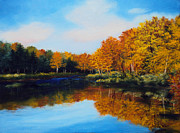 Autumn Trees Painting Posters - Mattawamkeag River in Autumn Poster by Laura Tasheiko