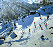 Skiing Paintings - Matterhorn by Andrew Macara