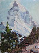 Switzerland Paintings - Matterhorn At 8 Pm by Bryan Alexander