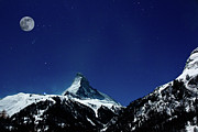 Clear Sky Art - Matterhorn Switzerland Blue Hour by Maria Swärd