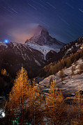Swiss Photo Prints - Matterhorn With Star Trail Print by Coolbiere Photograph