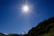 Matterhorn Prints - Matterhorn with sunbeam Print by Mats Silvan
