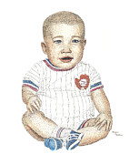 Baseball Art Drawings - Matthew by Brian Wallace