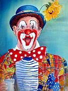 Clown Painting Originals - Mattie the Clown by Myra Evans