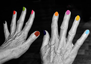 Finger Nails Posters - Mature Hands Poster by Alex Hardie