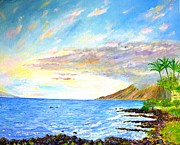 Kauai Artist Paintings - Maui and whales passing by by Tamara Tavernier