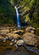 Waterfalls Posters - Maui Waterfall Poster by Adam Romanowicz