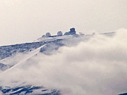Observatories Prints - Mauna Kea Observatories with Snow Print by Bette Phelan