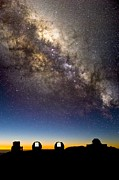 Telescopes Prints - Mauna Kea Telescopes And Milky Way Print by David Nunuk