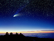 Hale-bopp Comet Prints - Mauna Kea Telescopes Print by D Nunuk and Photo Researchers