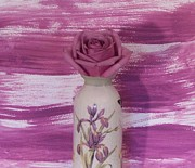 Mauve Art - Mauve Rose in Iris Vase by Marsha Heiken