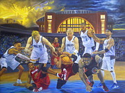 La Lakers Paintings - Mavericks Defeat The King and His Court by Luis Antonio Vargas