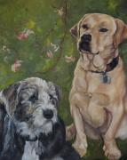 Heeler Paintings - Max and Molly by Stephanie  Broker