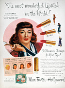 Endorsement Prints - Max Factor Lipstick Ad Print by Granger