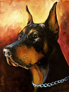 Doberman Paintings - Max by Michael Lang