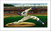 League Painting Prints - Max On The Mound Print by Keith Shepherd