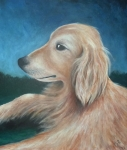 Pet Portraits Originals - Max- Portrait of a Golden Retriever by Nancy Mueller