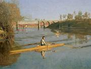 Landscape Framed Prints Metal Prints - Max Schmitt in a Single Scull Metal Print by Thomas Cowperthwait Eakins