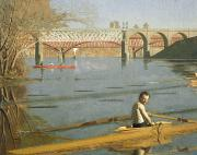Singles Framed Prints - Max Schmitt in a Single Scull Framed Print by Thomas Eakins