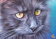 Cats Drawings Metal Prints - Max Metal Print by Elena Kolotusha