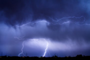 Lightning Bolt Pictures Metal Prints - May Showers - Lightning Thunderstorm 5-10-2011 Metal Print by James Bo Insogna