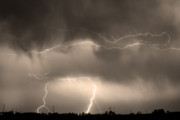 Unusual Lightning Prints - May Showers - Lightning Thunderstorm Sepia 5-10-2011 Print by James Bo Insogna