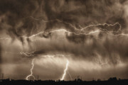Lightning Weather Stock Images Posters - May Showers - Lightning Thunderstorm Sepia HDR Poster by James Bo Insogna