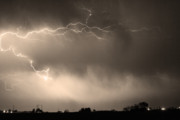 Bo Insogna Metal Prints - May Showers 2 in Sepia - Lightning Thunderstorm 5-10-2011   Metal Print by James Bo Insogna