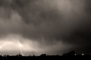 Lightning Bolts Prints - May Showers 3 in Sepia - Lightning Thunderstorm 5-10-2011 Boulde Print by James Bo Insogna