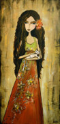 Long Dress Mixed Media - Maya and the Cat by Debbie Horton