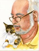 Feline Paintings - Maya Loves Her Papa by Marsha Elliott