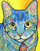 Cat Art Painting Prints - Maya Vintage Print by Dean Russo