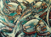 Collagraph Prints - Mayan Aquarium    no. 4 Print by Pamela Iris Harden