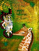 Mayan Paintings - Mayan Giraffe etc by Cynthia Van Leeuwen