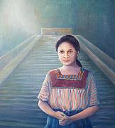 Mayan Paintings - Mayan Girl Past Present and Future by Leisa Collins