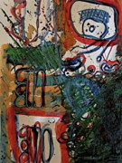 Hieroglyphics Paintings - Mayan Hieroglyphics in Blue and Red by Joan Norris