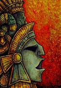 Mayan Paintings - Mayan Mask II by Faeorain Ui Neill