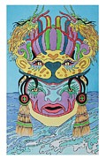 Mayan Mythology Paintings - Mayan Mask by Steven Donnini