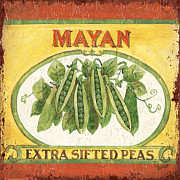 Green Painting Framed Prints - Mayan Peas Framed Print by Debbie DeWitt