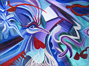 Trippy Painting Metal Prints - Mayan Phoenix Metal Print by Matt Crux