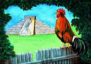 Mayan Paintings - Mayan Rooster by George I Perez