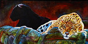 Jaguars Paintings - Mayan Temple Guards Jaguars by Kelly McNeil