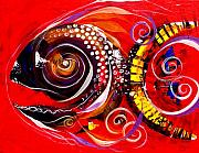 Abstraction Painting Prints - Mayan Turtle Fish Print by J Vincent Scarpace