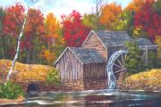 Old Mills Paintings - Maybry Mill   by Marveta Foutch