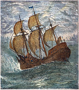 Trans-atlantic Posters - Mayflower At Sea, 1620 Poster by Granger