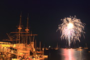 Massachusetts Plymouth Massachusetts Posters - Mayflower II Fireworks Poster by John Burk