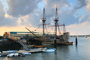 Massachusetts Plymouth Massachusetts Posters - Mayflower II Plymouth Poster by John Burk