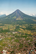 Aerial Posters - Mayon Volcano And Legazpi City Poster by Kay Dulay