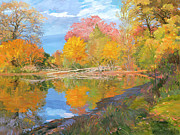 Tree Reflections In Water Prints - Mayslake at Fall Print by Judith Barath
