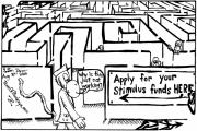 Editorial Cartoon Mixed Media - Maze cartoon of a maze by Yon by Yonatan Frimer Maze Artist